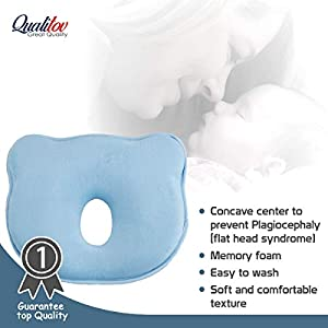Newborn Head Shaping Pillow- Soft Memory Foam Baby Pillow for Neck Support and Flat Head Syndrome (Plagiocephaly) Prevention- Blue