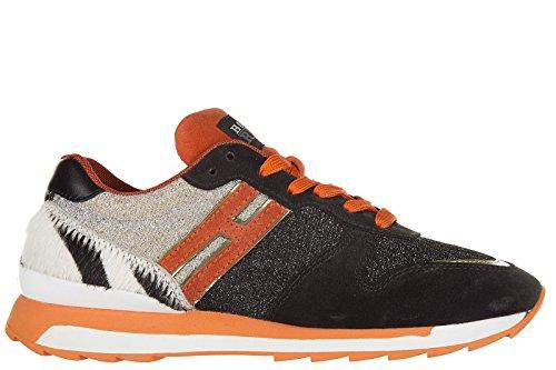 Hogan Rebel scarpe sneakers donna camoscio nuove r261 allacciato nero