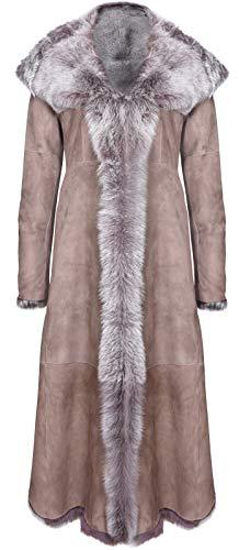 Infinity Leather Taupe - Chamarra de Piel de Oveja Toscana con Capucha para Mujer, Marrón Topo, L