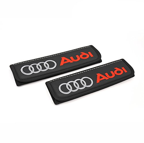 Audi seat Belt Covers Pads Shoulder for Adults Seatbelt Cover pad with Embroidered Audi Emblem Interior Accessories 2 pcs A Great Gift for Driver (A4 / A5 / A3 / Q7 / Q3 / Q5 etc) (Black)