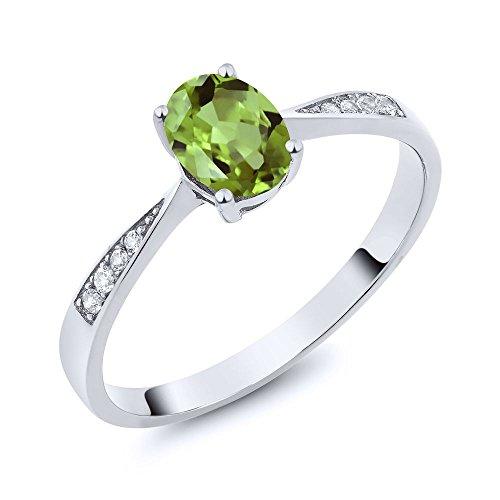 10K White Gold Diamond Ring with 0.86 Ct Oval Green Peridot (Ring Size 5) (Gold Peridot Gemstone Ring)