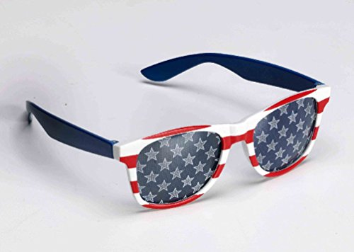 Red White Blue Patriotic USA Glasses Sunglasses Stars & Stripes Adult July 4th