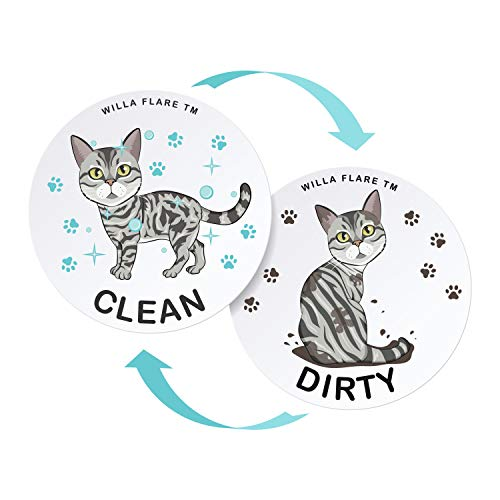 Large Dishwasher Magnet Clean Dirty Sign – Funny Emoji Magnets – Large, Strong, Cool Magnetic Gadgets for Kitchen Organization and Storage – Strong Double Sided Indicator (American Shorthair 3.5 inch)