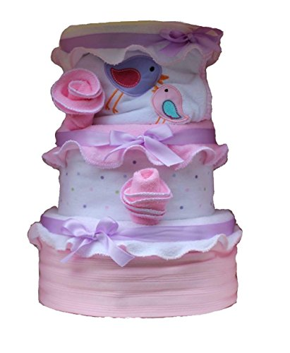 Create-A-Gift 3 Tier Girl Little Sweetie Baby Cake, Pink/Purple