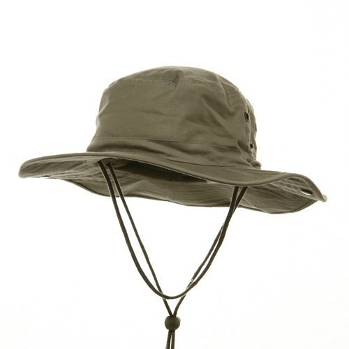 MG Mens Brushed Cotton Twill Aussie Side Snap Chin Cord Hat (Khaki Brown, (Australian Hat)