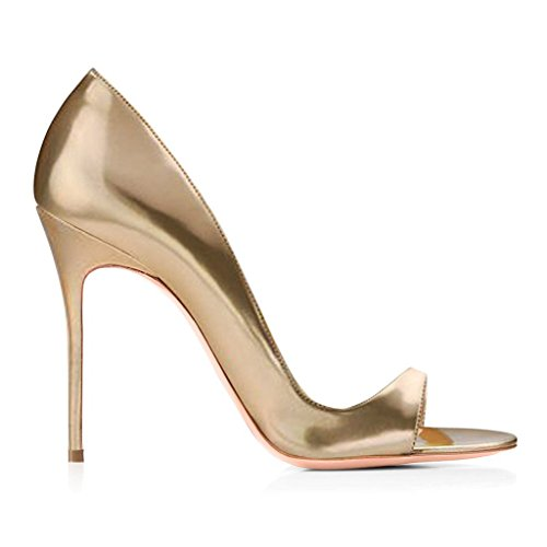 Chaussures 120mm Stiletto Peep Femmes Aiguille High Toe Gold Sandales Edefs Talon Haut Heels Escarpins H8z5xnw7