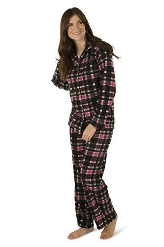 Totally Pink Women's Warm and Cozy Plush Pajama Set (Medium, Black Plaid)