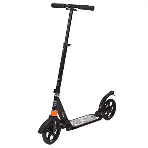 Ancheer Adult Kick Scooter Portable Foldable Height-Adjustable | Commuter Street Push Scooter with Dual Suspension, 2 Large 205mm Wheels for City Urban Riders, Supports 220lbs Weight (Black)