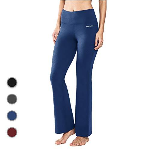 Ogeenier Power Flex Cotton Boot Cut Yoga Pants Workout Running 4 Way Stretch Bootleg Yoga Pants with Inner Pocket