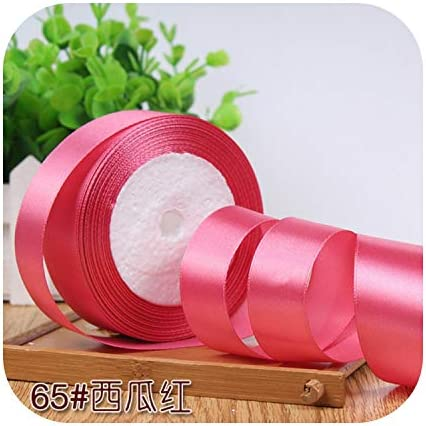 kawayi-桃 6/10/15/20/25/40 / 50mmサテンリボンDIY人工シルク工芸用品ソーイングアクセサリースクラップブッキング素材ギフトボックスベルト-Watermelon Red-25mm