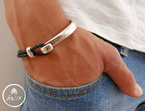 Handmade Cuff Bracelet For Men Made Of Half Black Genuine Leather and Half Silver Plated Brass By Galis Jewelry - Cuff Bracelet For Men - Leather bracelet For -
