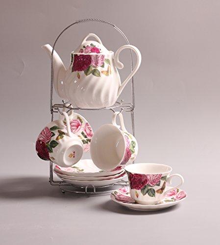 ufengkeWhite And Red Rose Flower 9 Piece European-Style Ceramic Tea Set Tea Service Coffee Set