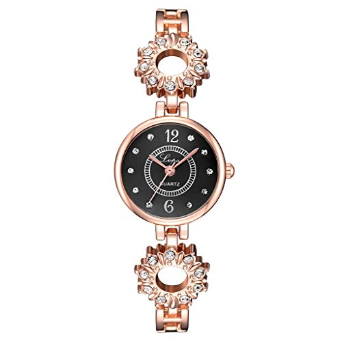 Qingell Watch Rhinestone Bracelet Watch Crystal Accented Flower Design Rose Gold Metal Luxury Watch for Women (B, one Size) ()