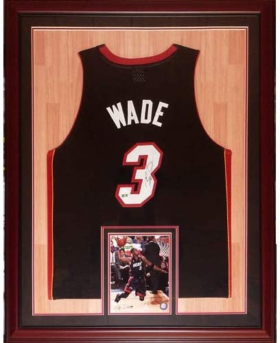Dwyane Wade Autographed Miami Heat (Black #3) Deluxe Framed Jersey with court background - DWADE Holo