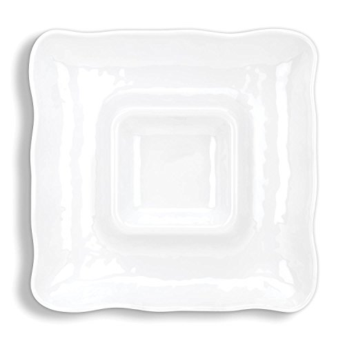 Michel Design Works Melamine Chip and Dip Serving Tray, White on White