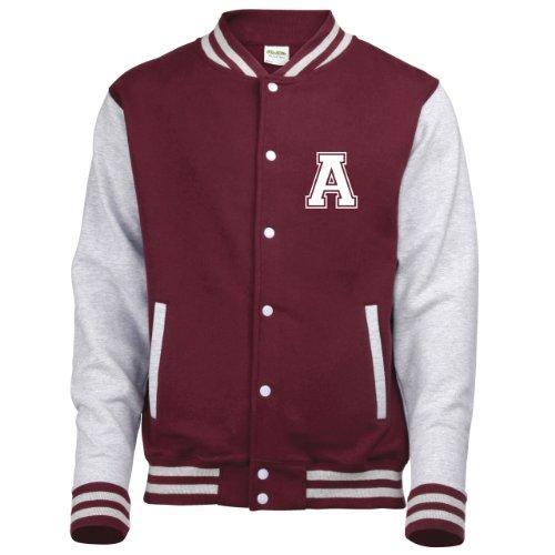 Diversi Disponibile college amp; Burgundy Colori Adulti Solo Su Varsity Da In Sleeves Con Personalised Iniziale giacca Grey Baseball Anteriori 41nBqOPCxw