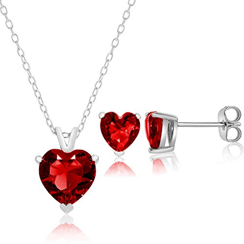 Queen Jewelers Sterling Silver Cubic Zirconia Solitaire Heart Stud Earrings and Necklace Set