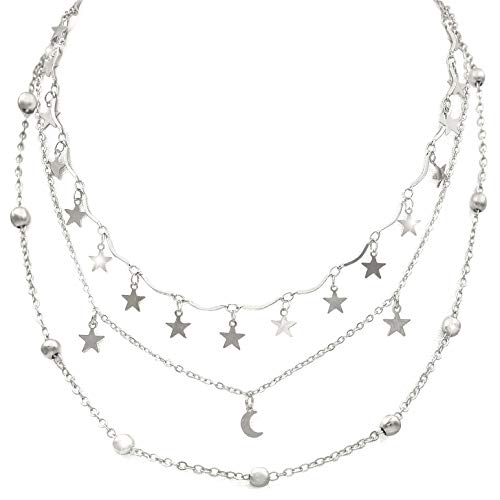 - Wowanoo Choker Necklace Set Multilayer Layers Stars Chain Clavicle Necklace Jewelry for Women ThreeS