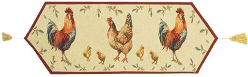 Basse Cour I French Tapestry Table Runner by Charlotte Home Furnishings Inc.