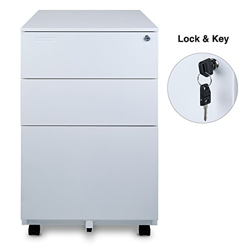 Review Aurora Modern SOHO Design 3-Drawer Metal Mobile File Cabinet with Lock Key Fully Assembled, White (FC-103WT)