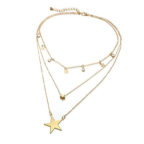 Binmer Necklace,Simple Five-pointed Star Pendant With Diamond-studded Three-layer Clavicle Chain