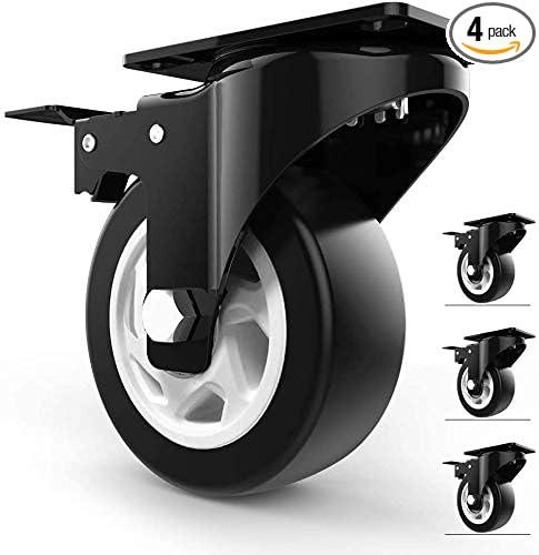 Industrial Swivel Caster /Φ4 // 5//6 // 8in Load 1000kg,2 Swivel Casters+2 Brake Casters,4in(100mm) Office Chair Caster Wheels FANYF X4 Furniture Castor Wheel Polyurethane Transport Caster-with Brake