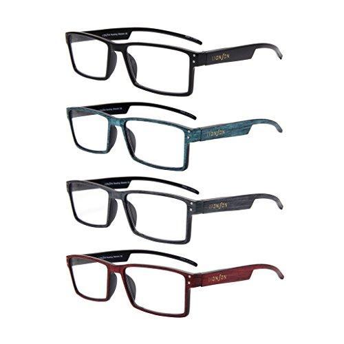 LianSan Designer Rectangular Plastic Faux Wood Reading Glasses 4 Pack Women Men Oversized Fashion Magnifying Eyeglasses Eye Strain Readers 2.0 1.5 1.00 2.5 3.0 3.5 4.0 L3719 (+3.00) ()