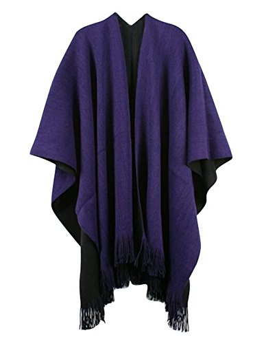 Women Winter Knitted Cashmere Poncho Capes Shawl Cardigans Sweater Coat Purple