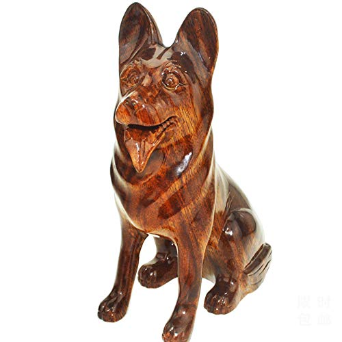 (TSAR003 Dog Wooden Animal Sculpture Hand-Carved Mahogany Jewelry Home Decoration)