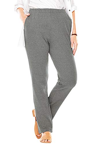 Woman Within Women's Plus Size 7-Day Knit Straight Leg Pant - Medium Heather Grey, M