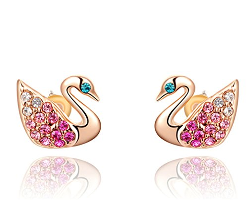 [Austrian crystal diamond gold-plated swan earrings] (Costume Design Concept Statement)
