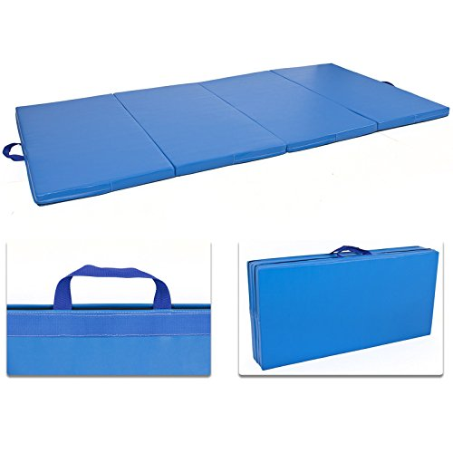 4'x8'x2'' Gymnastics Gym Folding Exercise Aerobics Mats Blue Stretching Yoga Mat by Exercise Mats