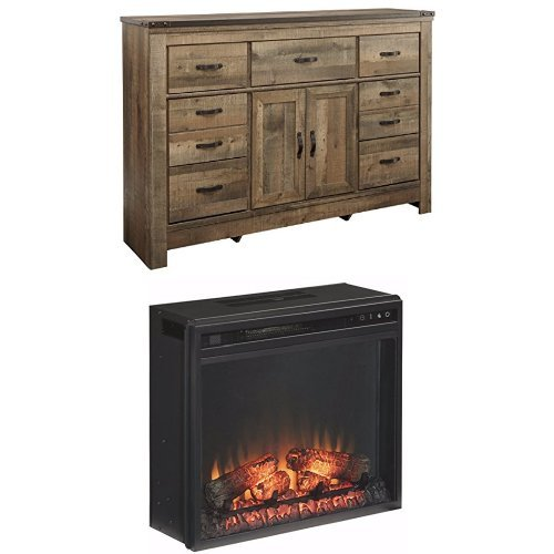 Ashley Furniture Signature Design - Trinell Dresser with Traditional Log Fireplace Unit Included - Brown by