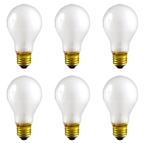 CEC Industries RSB75 (Frosted) Rough Service Bulbs, 130 V, 75 W, E26 Base, A-19 shape (Box of 6) - A19 Rough