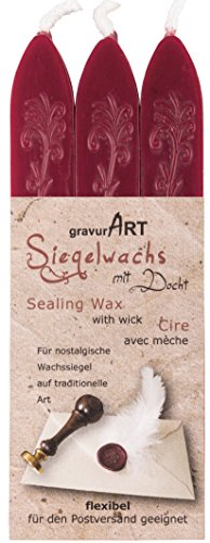 gravurART - flexibles Siegelwachs mit Docht in Bordeaux-Rot, 3 Stangen
