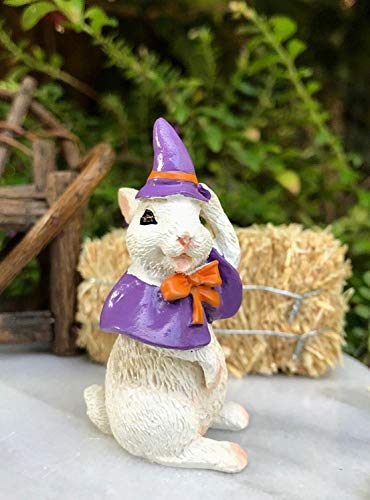 ShopForAllYou Figurines and Statues Miniature Dollhouse Fairy Garden Figurine ~ Halloween Bunny in Witch Costume ()