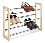 Whitmor 3 Tier Expandable Shoe Rack -Stackable - Natural Wood and Chrome