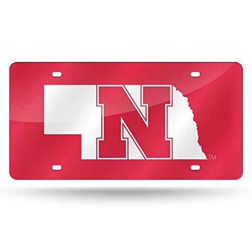 (NCAA Nebraska Cornhuskers Laser Inlaid Metal License Plate Tag)