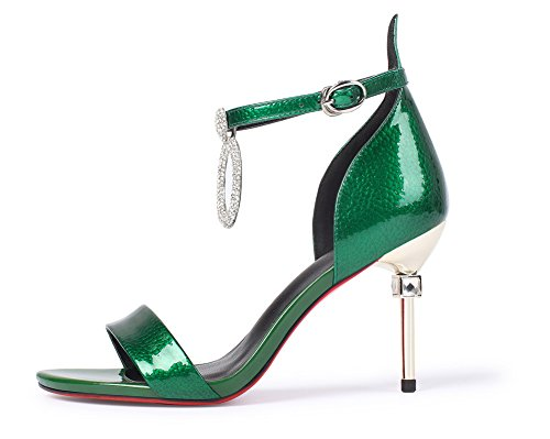 Womens Sandals Rhinestones 1TO9 Buckle MJS02746 Green Platform Pleather Unique Heeled 7qAw10dx