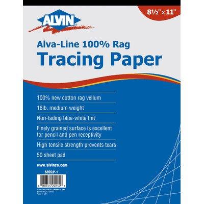 Alvin Alva-Line 100 percent Rag Vellum Tracing Paper 50-Sheet Pad 11 inches x 17 inches 6855/P-2