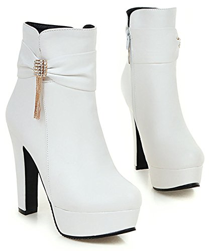 Easemax Women's Sexy Side Zipper Pointed Toe High Block Heel Platform Ankle High Booties White 955yso2C