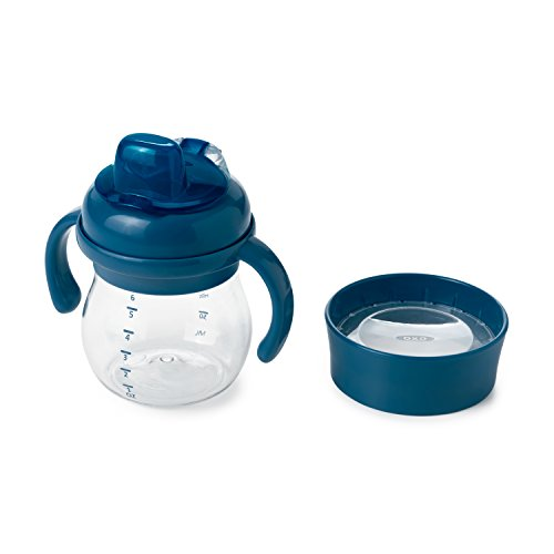 OXO Tot Transitions Soft Spout Training Cup Set, Navy, 6 Ounce by OXO