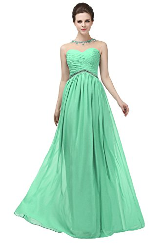 Women's Long Illusion Pleated Dress Crystals Neck Bridesmaid Angelstormy Light Green Empire 7qdYAW