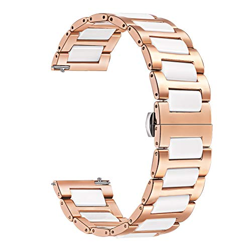for Samsung Galaxy Watch 42mm/ Active 40mm Watchband, TRUMiRR 20mm Ceramic Watch Band Quick Release Strap Bracelet for Samsung Galaxy Watch 42mm / Galaxy Active 40mm/ Garmin Vivoactive 3, Rose ()