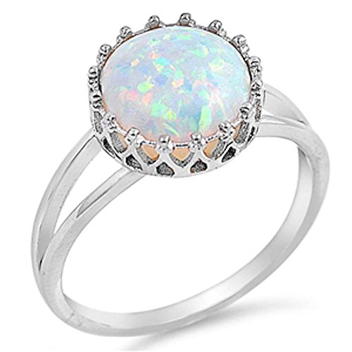 Crown Lab Created White Opal .925 Sterling Silver Ring Size 8 (Diamond Created Opal Ring)