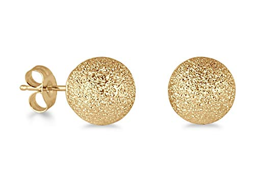 14k Yellow Gold Ball Stud Earrings with Laser-Cut Finish (8MM)