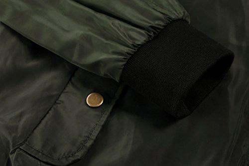 Zeagoo Women Classic Solid Biker Jacket Zip up Bomber Jacket Coat Army Green S by Zeagoo (Image #5)