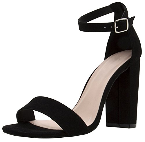 5d34f938a82 Cambridge Select Women s Single Band Ankle Strap Chunky Block Heel Sandal