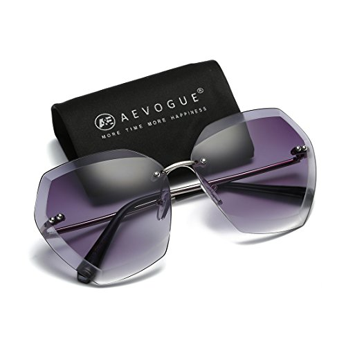 (AEVOGUE Sunglasses For Women Oversized Rimless Diamond Cutting Lens Sun Glasses AE0534 (Silver&Gray, 65))