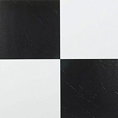 "20 Self Adhesive Black and White Checker Board pattern 12"" X 12"" Vinyl Flooring Tiles"